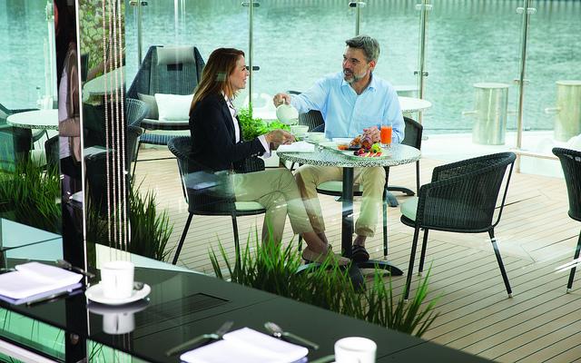 cafe couples cruise rhine