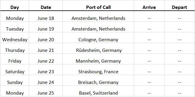 Amsterdam River Cruise 2018 Itinerary