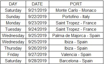 Desire Cruise Monte Carlo 2019 Itinerary
