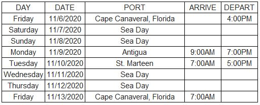 Mariner Bliss Cruise Itinerary