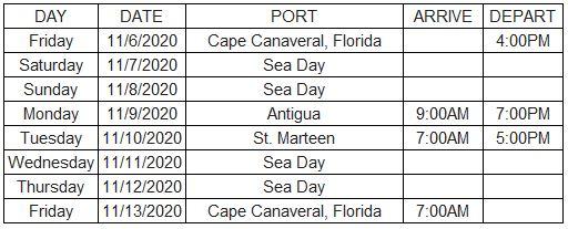 Mariner Bliss Cruise Itinerary