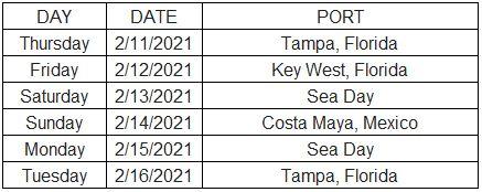 Temptation Cruise 2021 Itinerary