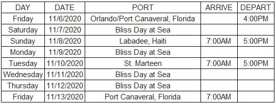 Bliss Mariner 2020 Itinerary