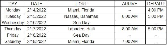 Temptation Cruise 2022 Itinerary