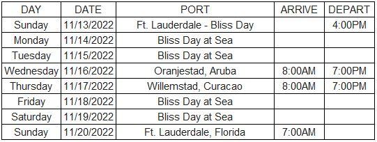 Bliss Reflection Cruise 2022 Itinerary