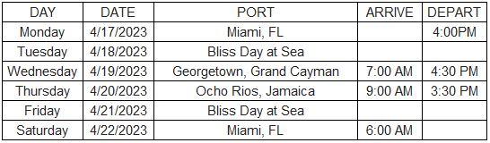 Bliss Summit 2023 Itinerary