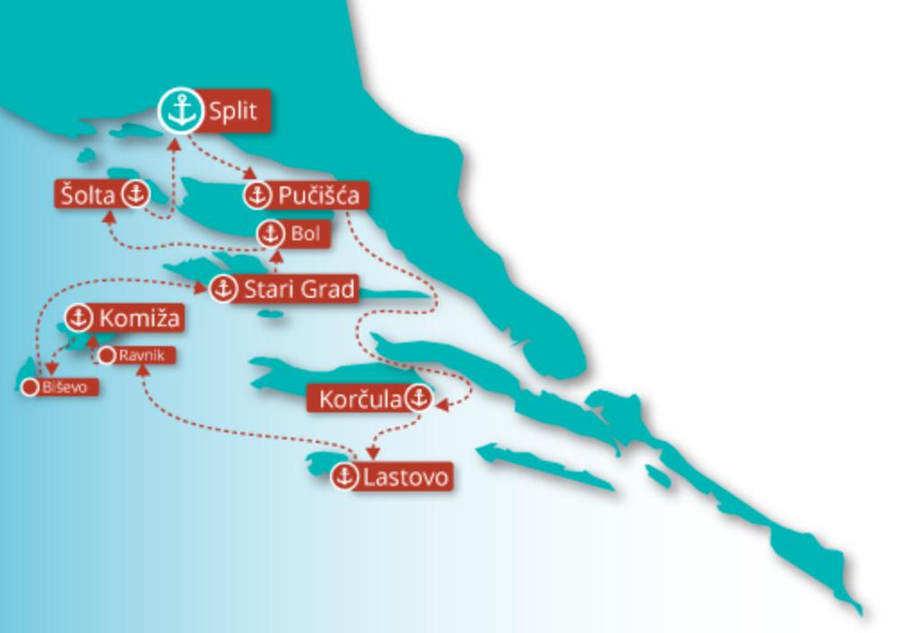 Rockstar Croatia Cruise Sailing Map