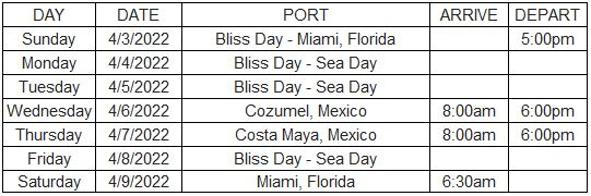 Bliss Cruise Jewel of the Seas Itinerary